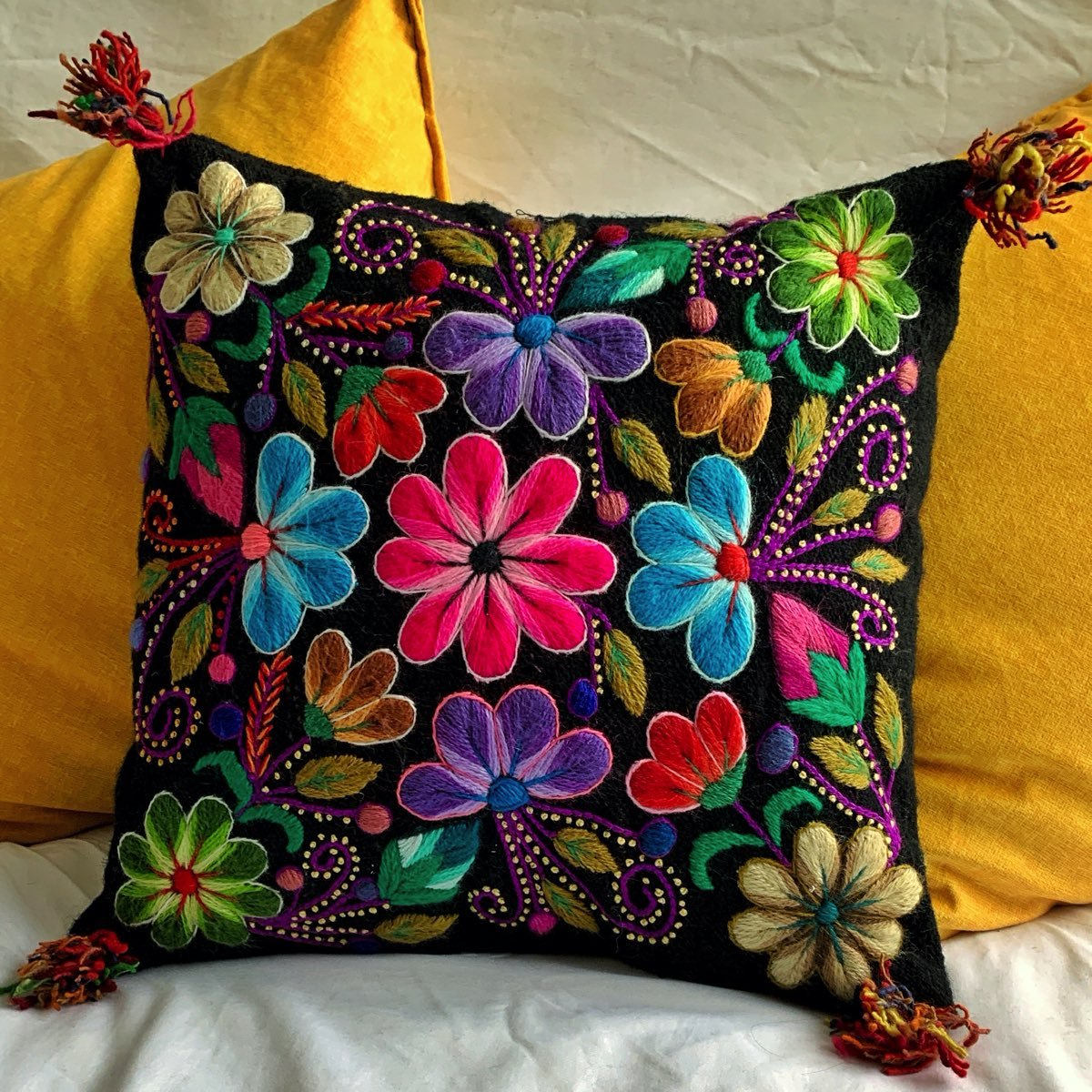 Hand Embroidered Cushion Cover Black Color Peruvian Wool Floral Design 16 Square Kusikrafts